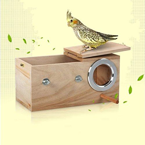 Liuyu · Lebenshaus Massivholz Vogelnest Papagei Zuchtbox Vogelkäfig Anti-Beißring ( Farbe : Große , größe : Left side opening )