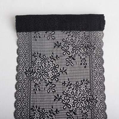 AiCheaX Lace Crafts - 6 Yards 21 cm Weiß Schwarz Elastic Mesh Spitze Stoff Stretch Borte Band Unterwäsche Kleidungsstück Kleidung Unterwäsche Nähzubehör - (Farbe: Schwarz 6 Yards) -