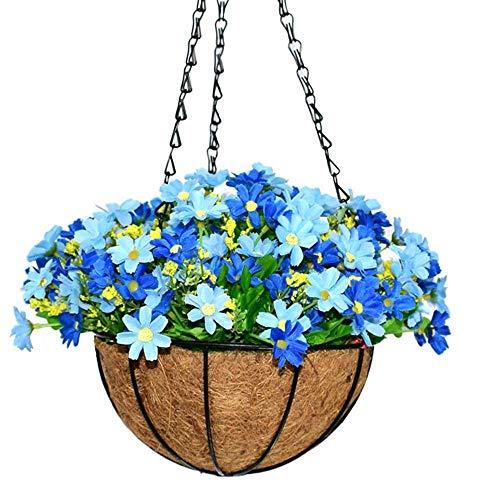 HOPPLES Künstliche Daisy Blumen, künstliche Hängepflanze ky8789-t231Planeten Seide. Blumenampel mit Kette Blumentopf für Home Outdoor Dekoration Blau Planet Seide