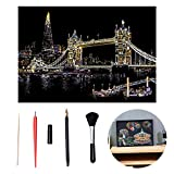 1SET Scratch Art célèbre City Night Voir Dazzling Paper Craft Art Scratchboard DIY Papier Accueil Salon Décoration (Tower Bridge, y Compris Les Outils)