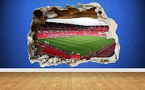 Old Trafford 3D zerstörten Wandtattoo Man U Manchester Schlafzimmer Jungen Art Aufkleber, Large: 81cm x 58cm
