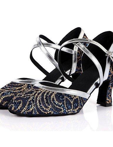 ShangYi Chaussures de danse ( Bleu / Rouge ) - Non personnalisable - Gros talon - Similicuir / Dentelle / Paillette Brillante / Paillette -Latine Navy