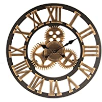 Jeteven 60cm Wanduhr Europäische Vintage Handarbeit 3D Dekorative Zahnrad aus Holz Gold