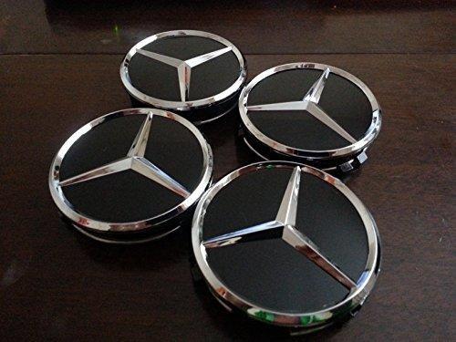 4-new-75-mm-mercedes-black-chrome-alloy-wheel-badges-for-a-b-c-e-s-classes