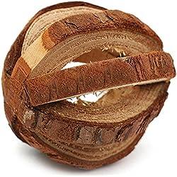 ALCYONEUS, giocattolo da masticare in legno naturale con campanella, adatto per topi, conigli e porcellini d'India
