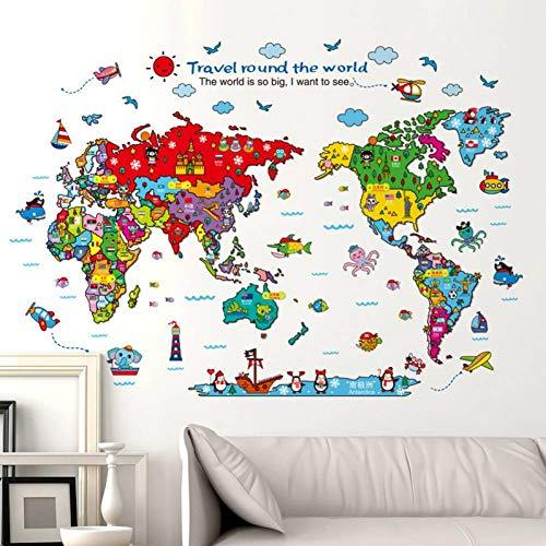 LELTWS 118X83 cm Tier Welt Karte Wand Aufkleber Reise Rund Um Die Welt Wohnkultur Für Kinder Zimmer Große Karte Aufkleber Vinyl DIY Wand Abziehbilder (Dekorationen Um Rund Welt Die Weihnachten)