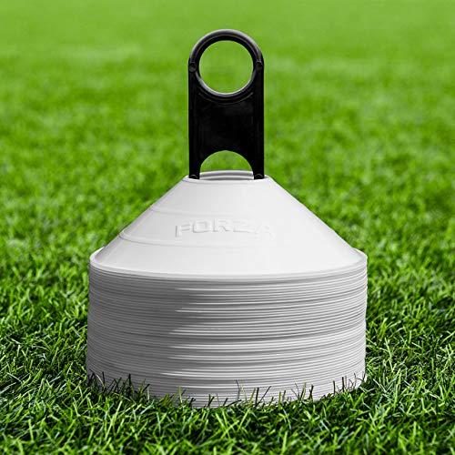 FORZA Markierungshütchen (50 Stück) - Multi-Sportarten Training Markierungsteller und Halter (Weiß)