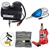 Varshine-Combo-Car-Care-Kit-Include-3-Tonn-Car-Jack,-Vaccum-Cleaner,-Air-Pressure-Pump-300-PSI,-Punchar-Kit,-Multipurpose-Toolkit,-Car-Cleaner-Gloves