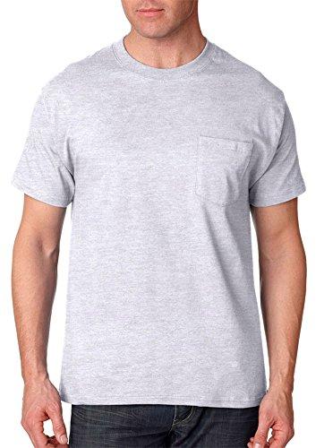 Hanes Adult High Stitch Ring Spun Preshrunk Pocket T-Shirt Ash (99/1)