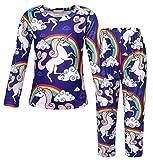 AmzBarley Unicornio PJS Pijamas Unisexo Traje Disfraz Animales Ropa de Dormir para Niños Niñas Halloween de Cosplay Camiseta y Pantalones Manga Larga (7-8 Años, Azul Oscuro)