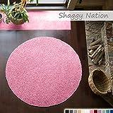 Shaggy-Teppich | Flauschiger Hochflor für Wohnzimmer, Schlafzimmer, Kinderzimmer oder Flur Läufer | einfarbig, schadstoffgeprüft, allergikergeeignet | Rosa - 160 cm rund