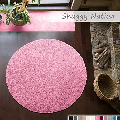 Shaggy-Teppich   Flauschiger Hochflor für Wohnzimmer, Schlafzimmer, Kinderzimmer oder Flur Läufer   einfarbig, schadstoffgeprüft, allergikergeeignet   Rosa - 120 cm rund