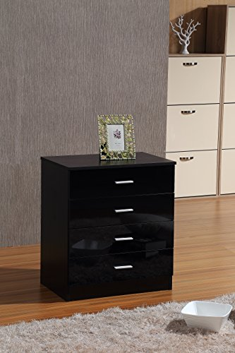OSSOTTO HIGH GLOSS 3 Piece Bedroom Furniture Set – Includes Soft Close Wardrobe, 4 Drawer Chest & Bedside Cabinet (Black on Black)