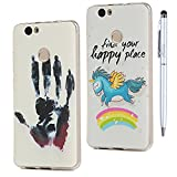 Huawei Nova Hülle MAXFE.CO TPU Silikon Hülle Tasche Palmdruck + Regenbogen fliegendes Tier Weich Backcover Handytasche Dünn Etui Case