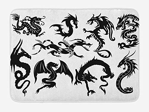 OQUYCZ Japanese Dragon Bath Mat, Monochrome Style Cultural Oriental Creatures Fantastic Ancient Collection, Plush Bathroom Decor Mat with Non Slip Backing, 23.6 W X 15.7 W Inches, Black White