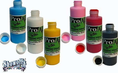 body-paint-proaiir-temporary-tattoo-ink-starter-pack-6-21-oz-60ml-bottles-by-showoffs-body-art