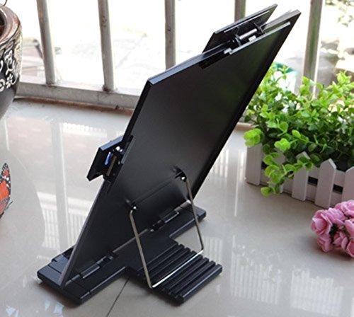 Soporte de escritorio soporte para documentos con línea guía y pinza extraíble para escritorio, color blanco, color negro
