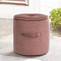 Fanilife Seating Footstool Footrest Ottoman Pouffe Round Chair Foot Stool Luxury Velvet Cover Rose