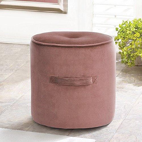 fanilife, Fußhocker Fußstütze osmanischen runden Stuhl Fuß Hocker mit Luxus Samt Cover rose