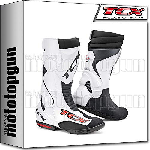 TCX Scarpe Stivali Moto 7801 Racing Speedway Bianco tg 42/8,5