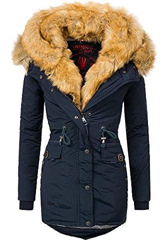 Navahoo Damen Mantel mit doppelter Kunstpelz-Kapuze Sweety (vegan hergestellt) Navy Gr. XL