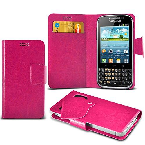 (Hot Pink) Samsung Galaxy Chat B5330 Mega sottile Protezione in ecopelle ventosa Custodia a portafoglio Pelle Copertura Caso Cover con carta di credito/debito Slot Aventus