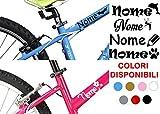 """AWS, 2Aufkleber """"Nome"""" H 2cm + 2 Sticker aus Vinyl zur Verschönerung des Kinderfahrrads oder Fahrradhelms, personalisierbar"""