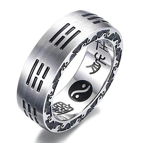 Onefeart Edelstahl Ring Für Herren Jungen Acht Diagramme Neun Worte von Mantra Glücksring 7MM Silber 67 (21.3) (Worte Diagramm)