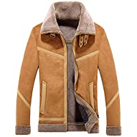 CHARTOU Men's Winter Spread Collar Sherpa Lined Suede Leather Trucker Jacket Coats (X-Large, Coffee)
