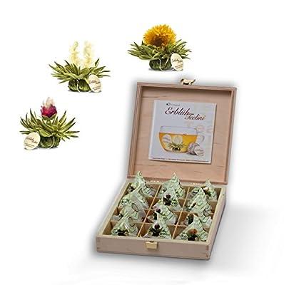 Teelini fleuri Biologique de Crano, coffret Cadeau dans le thé boîte en bois – 12 fleurs de thé en format tasse - thé blanc, dans les saveurs pêche, vanille et citron