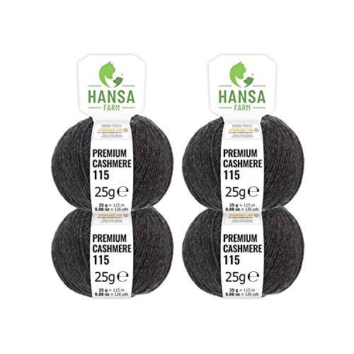 100% Premium Kaschmir Wolle in 12 Farben (weich & kratzfrei) - 100g Set (4 x 25g) Fingering - Edle Cashmere Wolle zum Stricken & Häkeln von Hansa-Farm - Anthrazit (Grau) -