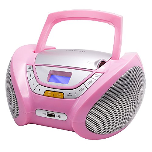Lauson CP448 CD-Radio mit CD MP3 USB Player Tragbares Kinder Radio Boombox tragbarer CD Player, Rose