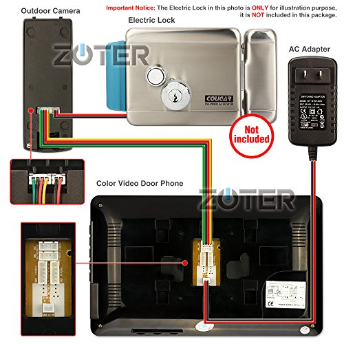 "Generic 7"" inch Touch Key Color LCD Video Door Phone Doorbell Home Entry Intercom System 3 Monitor 1 Metal Camera Night Vision 705 (Black)"