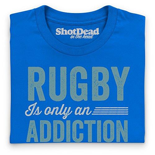 Rugby Addiction T-Shirt Funny Novelty Gift, Herren Royalblau