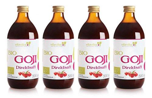 Vitavitee Bio Goji Direktsaft Gojisaft (4 x 500 ml) - Goji-beeren-saft