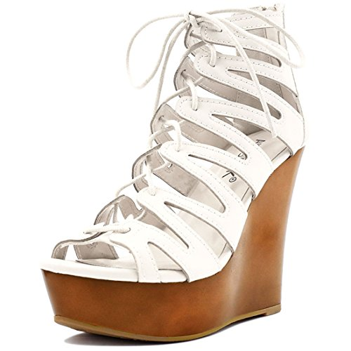 Allegra K Damen zum Schnüren Ausschnitt Open Toe Keilabsatz Sandalen - Damen, Weiß, 40 (Lace Up Strappy Sandal)