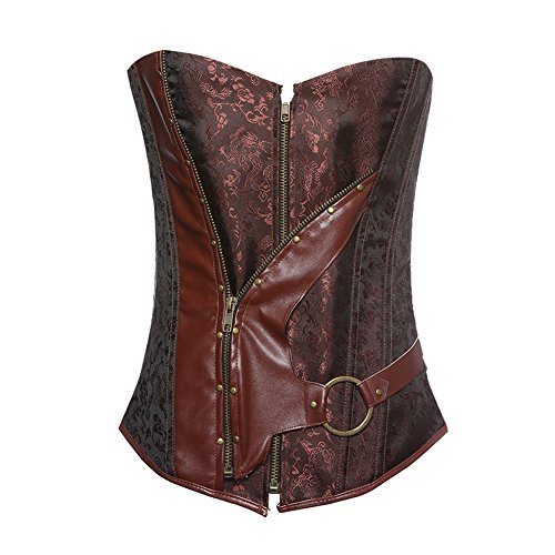 Kostüme Für Vampir Größe Plus Frauen (ZAMME Damen Bustiers Braun Brokat Steampunk Korsett Top Mit G-String Plus)