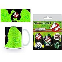 Set: Ghostbusters, 3, Slimer Foto-Tasse Kaffeetasse (9x8 cm) Inklusive 1 Ghostbusters Button Pack (15x10 cm)