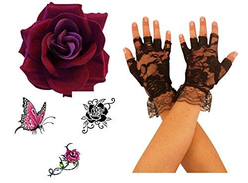 Burlesque Tänzerin Outfits (Burgundfarben Große Stoff Rose + 1 Paar Schwarze Fingerlose Handschuhe + 3 Temporäre)