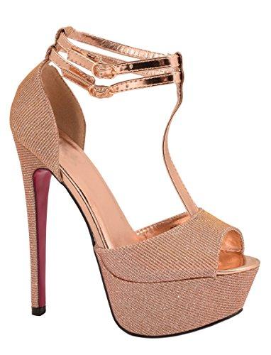 Elara Plateau Pumps | Party Stiletto High Heels | T-Strap Riemchen Glitzer | chunkyrayan SQ1610-Champagner-37