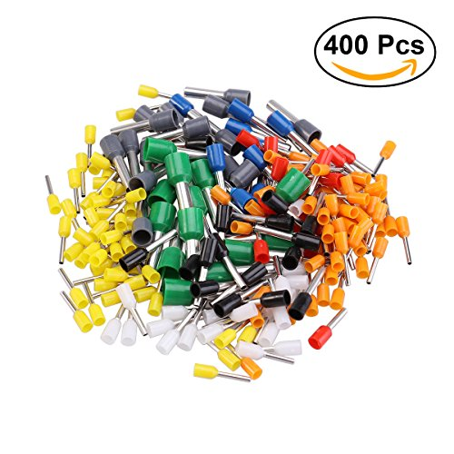 UEETEK 400pcs Draht Kupfer Crimp Stecker Sortiment isoliert Kabel Pin End Terminal AWG 22-10 Kit -