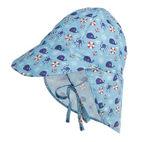 Aikowener Unisex Baby Sonnenhut Fischerhut Kinder Stern Sommerhut UV Schutz, Kordelzug Verstellbar, Bindebändern und Nackenschutz, Flapper für Mädchen und Jungen Mütze (Size 2 L(48-54cm), Tier-krake)