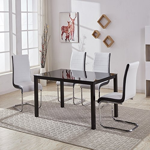 Gizza Clear Small Round Glass Dining Table And 4 Chairs Set Pu Leather Seat Padded Kitchen Room Office Chairs Home Deco Nova Table Buy Online In Faroe Islands At Faroe Desertcart Com Productid 71664154