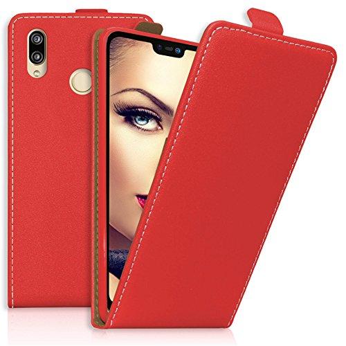 mtb more energy® Flip-Case Tasche für Huawei P20 Lite (5.84'') | rot | Kunstleder | Klapp-Cover Hülle Case