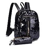 Moonuy Mädchen Rucksack Mode Pailletten Schultasche Reise Umhängetasche + Kupplung Brieftasche Softback mit Reißverschluss Schultertasche Schulranzen Solid Bag (Schwarz)