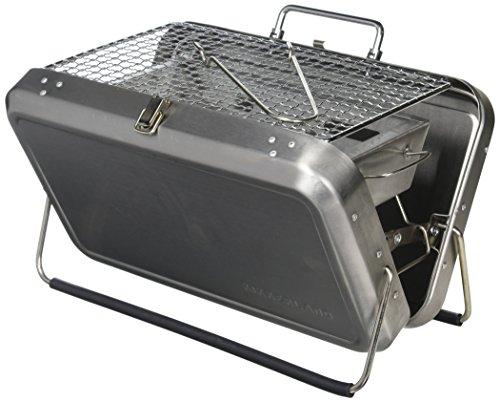 Kikkerland - Barbacoa portátil en maletín Acero Inoxidable, Color Plateado