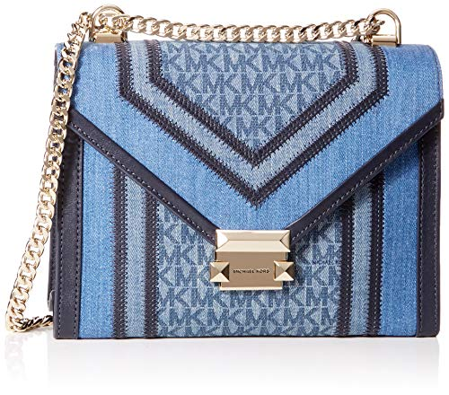 Michael Kors Damen Whitney Large Denim Logo Convertible Shoulder Bag Schultertasche, Blau Multi, 7.6x17.8x23.5 cm