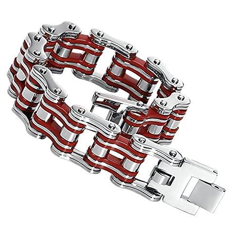 Gnzoe Hommes Acier inoxydable Bracelet Bycicle Bike Chaîne Bracelet Fold Over Clasp Rouge 23.5CM