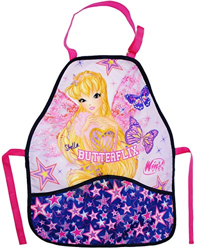 Unbekannt Kinderschürze -  Winx Club - Bloom / Flora - Stella Butterflix  - größenverstellbar & mit 2 Taschen - Schürze / beschichtet & wasserdicht - für Mädchen - Ki.. -