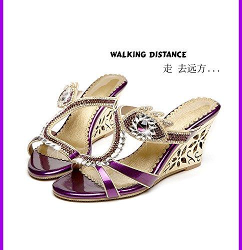 XY&GKFrühling und Sommer Sandalen Leder Sandalen in Diamant Kristall mit Diamond Sandalen mit Hang Toe Hausschuhe, komfortabel und schön 34 purple eyes